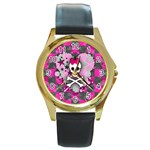 Princess Skull Heart Round Gold Metal Watch