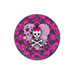 Princess Skull Heart Rubber Round Coaster (4 pack)