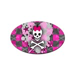 Princess Skull Heart Sticker Oval (10 pack)