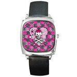 Princess Skull Heart Square Metal Watch