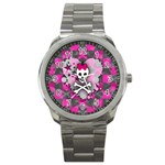 Princess Skull Heart Sport Metal Watch
