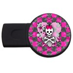 Princess Skull Heart USB Flash Drive Round (4 GB)