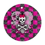 Princess Skull Heart Round Ornament (Two Sides)