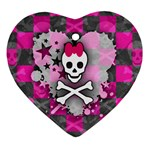 Princess Skull Heart Heart Ornament (Two Sides)