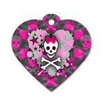 Princess Skull Heart Dog Tag Heart (Two Sides)