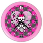 Princess Skull Heart Color Wall Clock