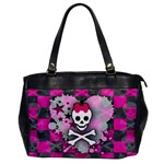 Princess Skull Heart Oversize Office Handbag (One Side)