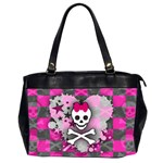 Princess Skull Heart Oversize Office Handbag (Two Sides)