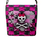 Princess Skull Heart Flap Closure Messenger Bag (Large)