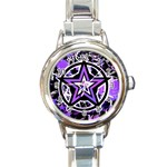 Purple Star Round Italian Charm Watch