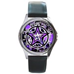 Purple Star Round Metal Watch