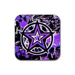 Purple Star Rubber Square Coaster (4 pack)