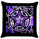 Purple Star Throw Pillow Case (Black)