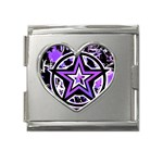Purple Star Mega Link Heart Italian Charm (18mm)