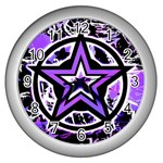 Purple Star Wall Clock (Silver)