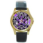 Purple Star Round Gold Metal Watch