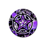 Purple Star Rubber Coaster (Round)