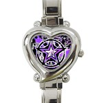 Purple Star Heart Italian Charm Watch