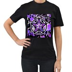 Purple Star Women s Black T-Shirt (Two Sides)