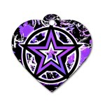 Purple Star Dog Tag Heart (One Side)