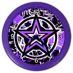 Purple Star Color Wall Clock