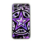 Purple Star Apple iPhone 4 Case (Clear)