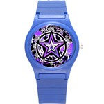 Purple Star Round Plastic Sport Watch Small