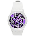 Purple Star Round Plastic Sport Watch Medium