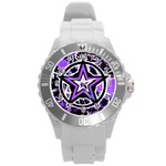 Purple Star Round Plastic Sport Watch Large