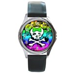 Rainbow Skull Round Metal Watch