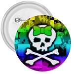 Rainbow Skull 3  Button