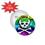 Rainbow Skull 1.75  Button (10 pack)