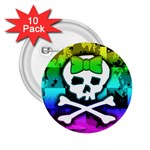 Rainbow Skull 2.25  Button (10 pack)