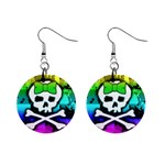 Rainbow Skull 1  Button Earrings