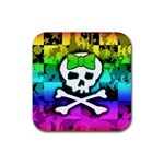 Rainbow Skull Rubber Coaster (Square)
