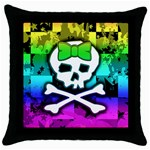 Rainbow Skull Throw Pillow Case (Black)