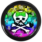 Rainbow Skull Wall Clock (Black)