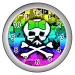 Rainbow Skull Wall Clock (Silver)