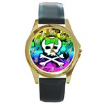 Rainbow Skull Round Gold Metal Watch