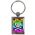 Rainbow Skull Key Chain (Rectangle)