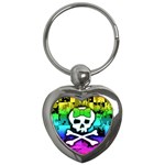 Rainbow Skull Key Chain (Heart)