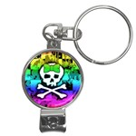 Rainbow Skull Nail Clippers Key Chain