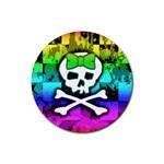 Rainbow Skull Rubber Coaster (Round)