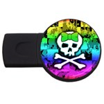 Rainbow Skull USB Flash Drive Round (2 GB)