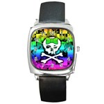 Rainbow Skull Square Metal Watch