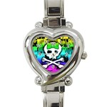 Rainbow Skull Heart Italian Charm Watch