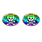 Rainbow Skull Cufflinks (Oval)