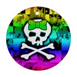 Rainbow Skull Round Ornament (Two Sides)