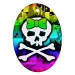 Rainbow Skull Oval Ornament (Two Sides)