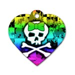 Rainbow Skull Dog Tag Heart (One Side)
